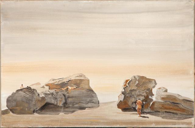 Yiannis Tsarouchis (Greek, 1910-1989) Rocks with two figures, St. Jean Cap Ferrat 62 x 92 cm.