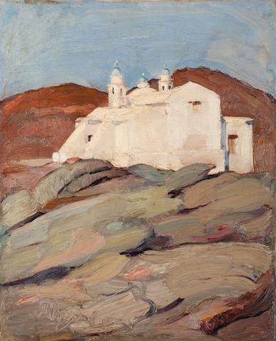 Nikolaos Lytras (Greek, 1883-1927) Aghios Sozon, Tinos 56 x 45 cm.