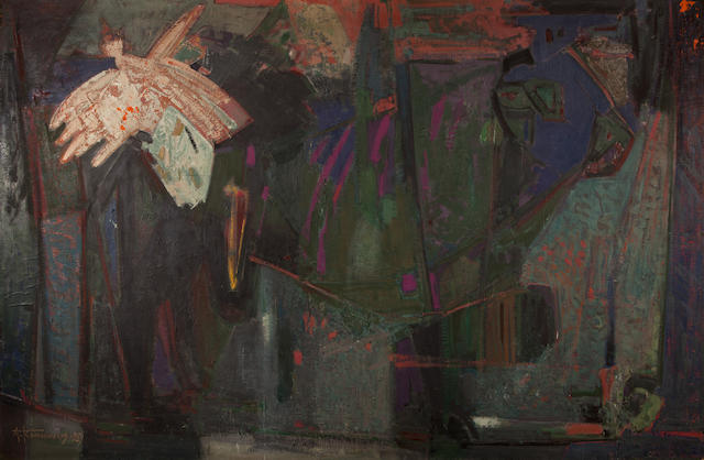 Alecos Condopoulos (Greek, 1905-1975) The abduction of Europe/Composition, 1959 160 x 242.5 cm.