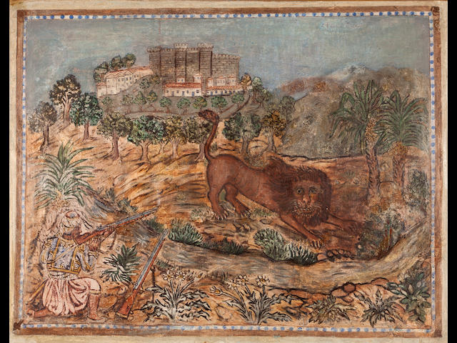 Theofilos Hadjimichail (Greek, 1867-1934) The lion hunt 140 x 180 cm.