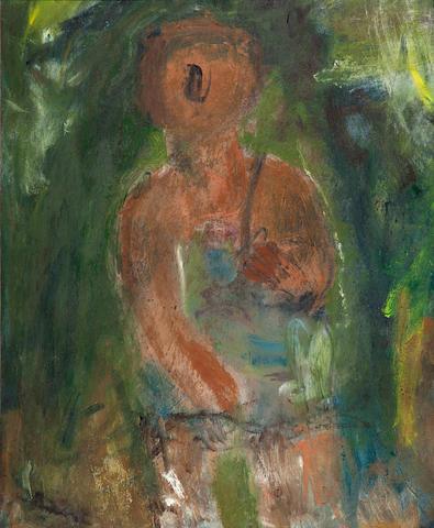 Georgios Bouzianis (Greek, 1885-1959) Sitzende Frau (Seated woman) 55.5 x 46 cm.