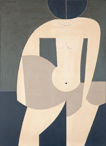 Yiannis Moralis (Greek, 1916-2009) Girl going into the sea, 1974 116 x 85 cm.
