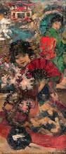 Edward Atkinson Hornel (British, 1864-1933) Japanese Girls in a garden 54.5 x 22 cm. (21 7/16 x 8 11/16 in.)