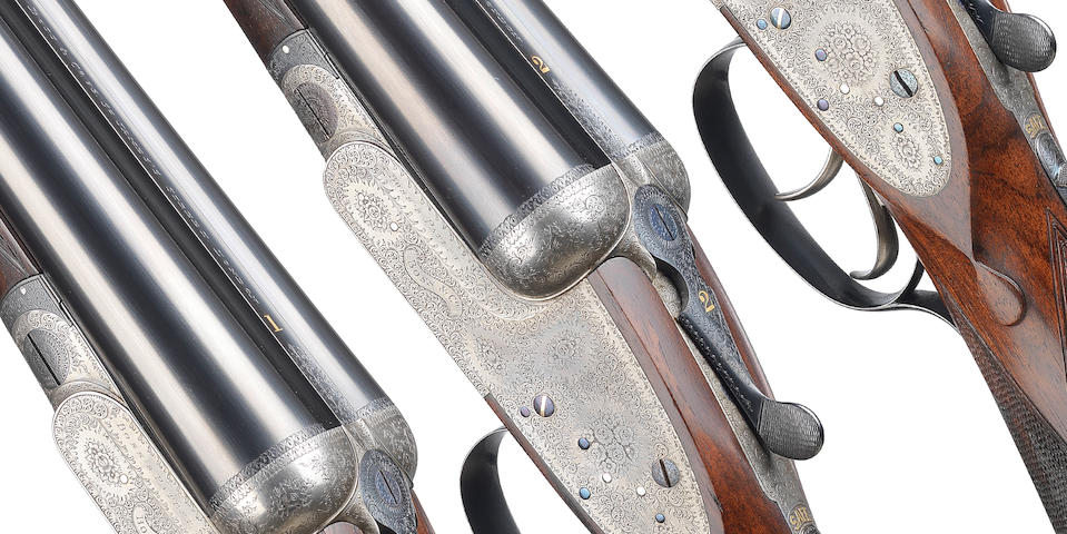 A fine trio of 12-bore sidelock ejector guns by Boss & Co., no. 5579/80/81 In their brass mounted oak and leather motor case with later canvas cover