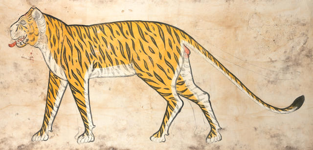 A large trophy painting of a tiger Udaipur, circa 1860