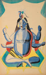 An impressive group of 61 Kalighat paintings, depicting Hindu deities, various figures from Hindu mythology and domestic scenes Kalighat, Bengal, second half of the 19th Century