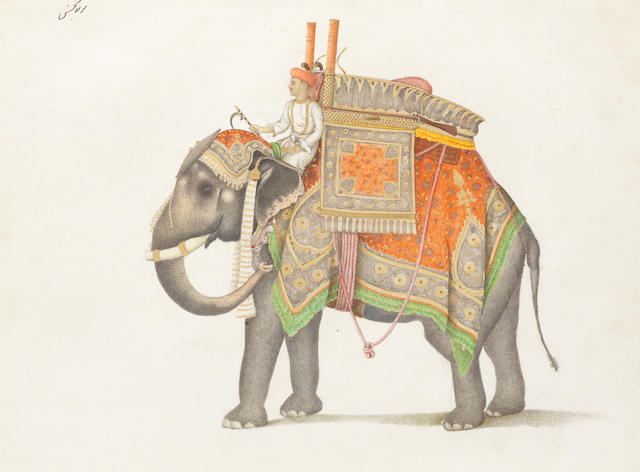 A Fraser Album Artist: an elephant and driver, probably from the Mughal Emperor's stable, with a hunting howdah equipped with a rifle, bows and a pistol Delhi, 1815-19
