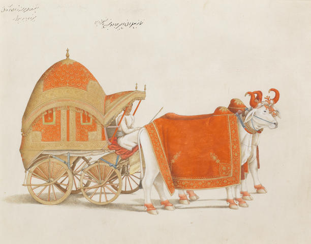 A Fraser Album Artist: the bullock-drawn carriage of Prince Mirza Babur Delhi, 1815-19