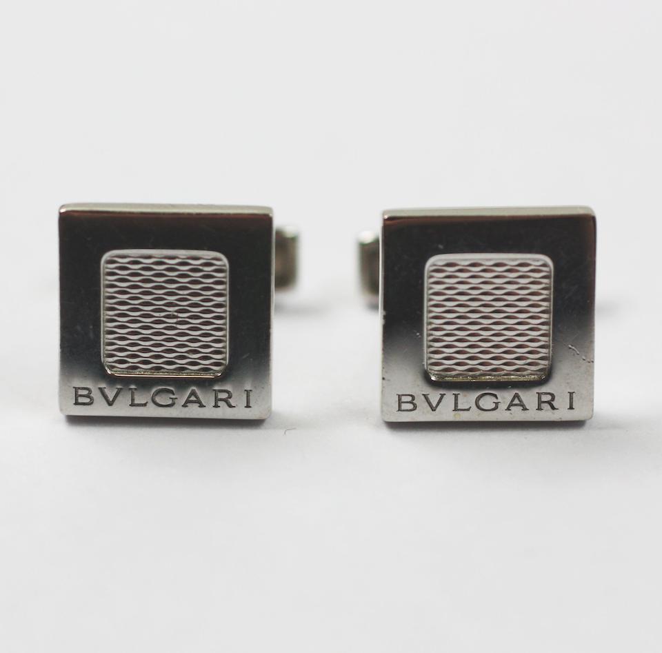 Bulgari: A pair of 18ct white gold cufflinks