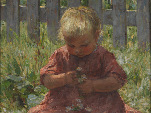 Mia Arnesby Brown (British, 1866-1931) Child with daisies