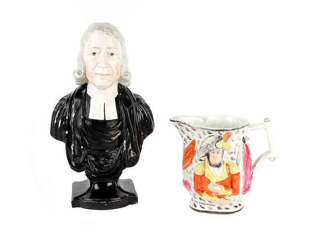 A Enoch Wood pearlware bust of John Wesley and a Wellington jug, early 19th century
