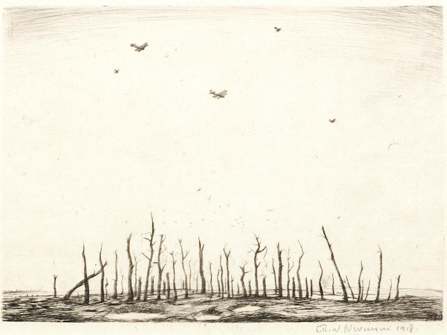 Christopher Richard Wynne Nevinson (British, 1889-1946) That Cursed Wood The rare drypoint, 1918, on watermarked laid, signed and dated in pencil, with wide margins, 250 x 349mm (9 7/8 x 13 3/4in) (PL)