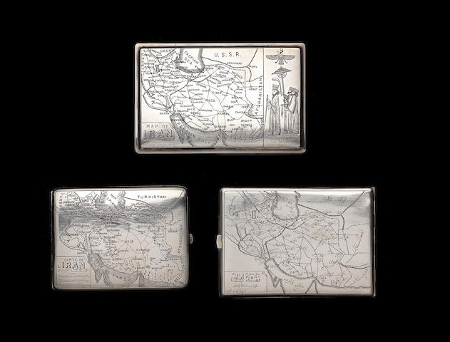 An engraved-silver Cigarette-Case presented to the Chairman of the Council of People's Commissars of the Nakhichevan Autonomous Soviet Socialist Republic; and two depicting maps of Iran Iran, 1937-45(3)