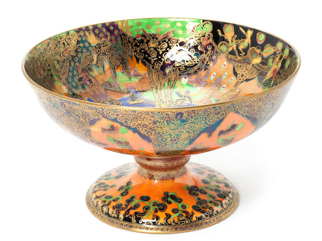Daisy Makeig-Jones for Wedgwood 'Fairy Gondola' a Flame Fairyland Lustre Chalice Bowl, circa 1924