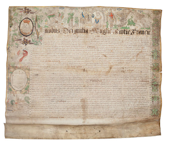 JAMES I and CHARLES I Illuminated letters patent creating Sir Francis Blundell a baronet, [13 October 1620]