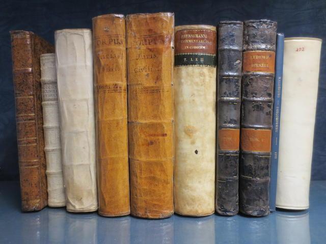 YANEZ PARLADORIO (JUAN) Opera juridica, 1734--[KREITTMAYR, W.X.A.] Codex maximilianeus Bavaricus civilis, 1756--CARPZOV (BENEDICT) Practicae novae imperialis Saxonicae rerum criminalium, 1723; and 7 others (10)