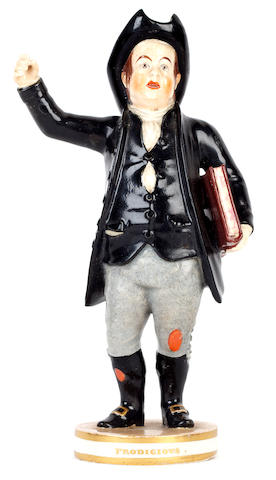 A Bloor Derby figure of John Liston as Dominic Sampson, circa 1825-30, together with its source print