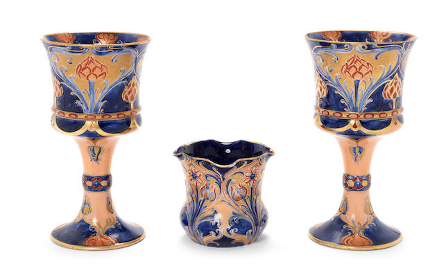 William Moorcroft  'Dahlia' a Pair of Large Macintyre Chalices, circa 1903