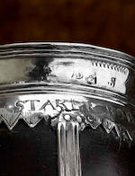An important Charles I silver mounted coconut cup; the oldest known Edinburgh example by Andrew Denneiston with deacon mark of John Scott, three marks below an assay scrape; AD, castle, IS circa 1637-39
