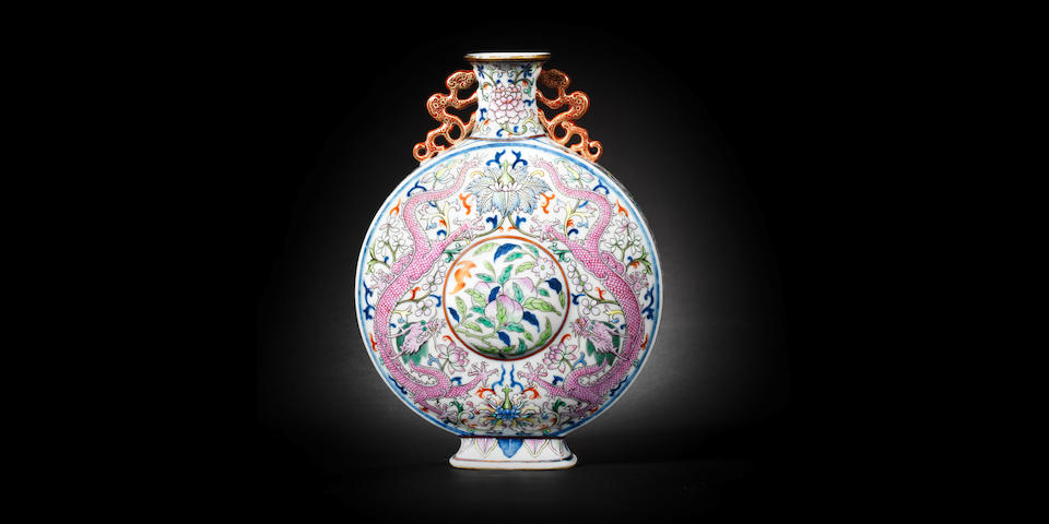 A rare Imperial famille rose moonflask, bianhu Qianlong seal mark and of the period