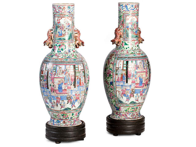 A pair of impressive Canton export famille rose floor vases Circa 1850