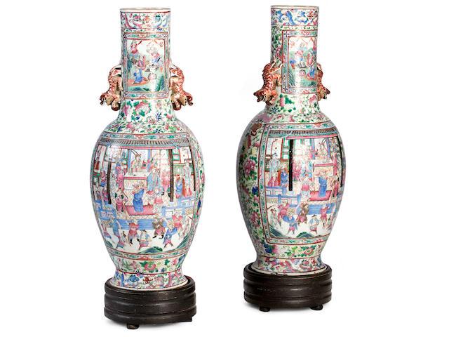 A pair of impressive Canton export famille rose floor vases Circa 1850