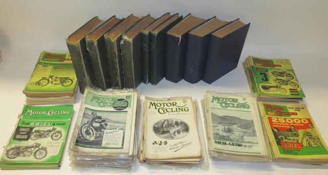 Motor Cycling; nine pre and post-War bound volumes,