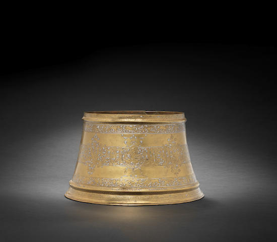 A Fars silver inlaid brass Candlestick Base Persia, 14th Century