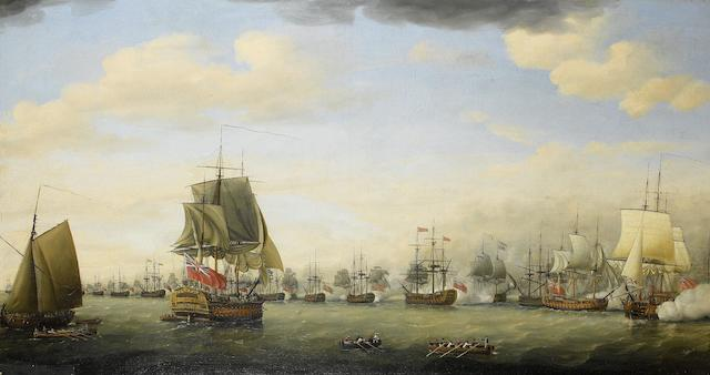 Francis Holman (British, 1729-1790) The action between the fleets of Rear-Admiral Sir Samuel (later Lord) Hood and the French Comte de Grasse in Frigate Bay, off Basseterre, St Kitts, 26th January 1782