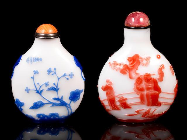 Two overlay snuff bottles Probably Yangzhou school, 1850-1900