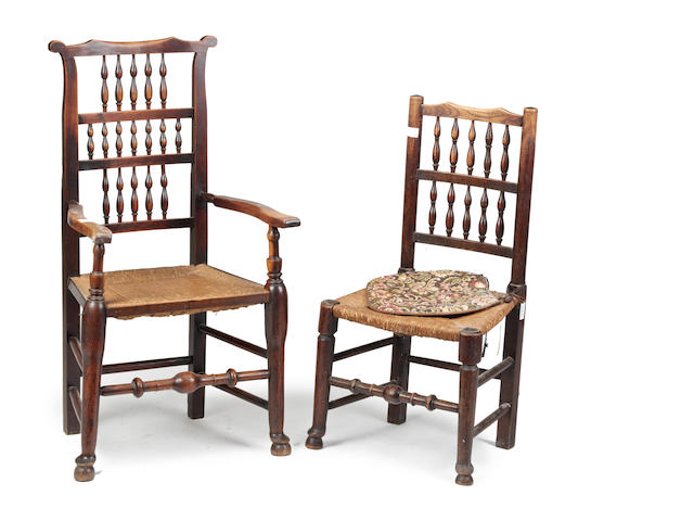 Five 19th century alder and ash spindle-back chairs