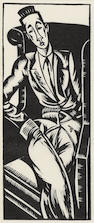 Edward Wadsworth (British, 1889-1949) Portrait of Rupert Doone (Greenwood WD 47) Woodcut printed in black, 1920, a richly inked impression, from the edition of 30, on thin wove, printed by Morland Press, with margins, 180 x 72mm (7 x 2 3/4in) (B)