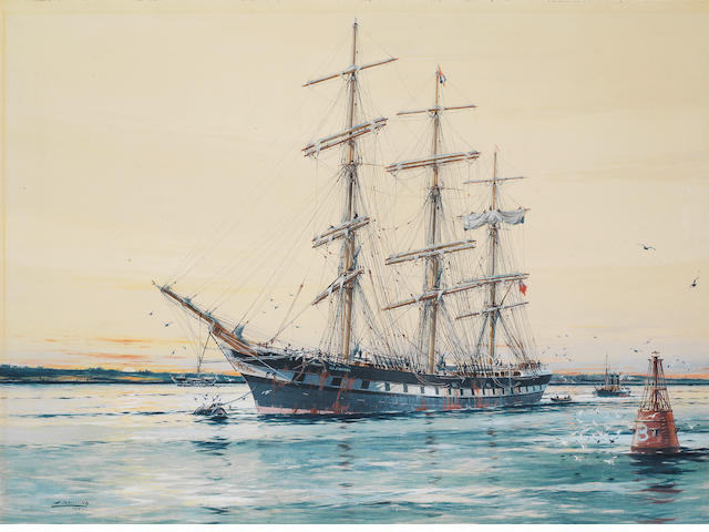 Jack Spurling (British, 1871-1933) The square-rigged Australian windjammer and, later, celebrated sail training ship Illawara lying on her mooring at sunset