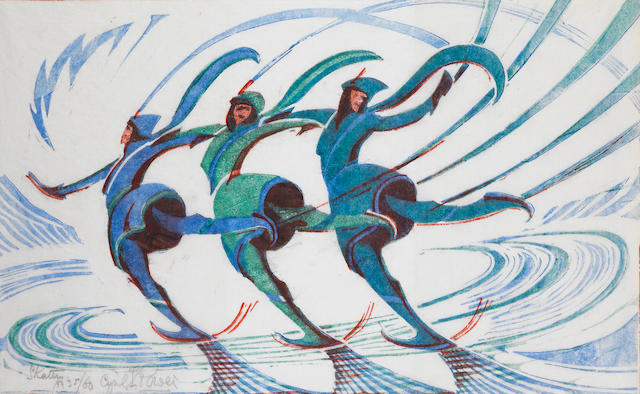 Cyril Edward Power (British, 1872-1951) Skaters Linocut printed in spectrum red, light cobalt blue and viridian, circa 1932, an excellent richly inked impression, on oriental laid tissue, signed, titled and numbered 35/60 in pencil, with margins, 198 x 316mm (7 3/4 x 12 3/8in)(B)
