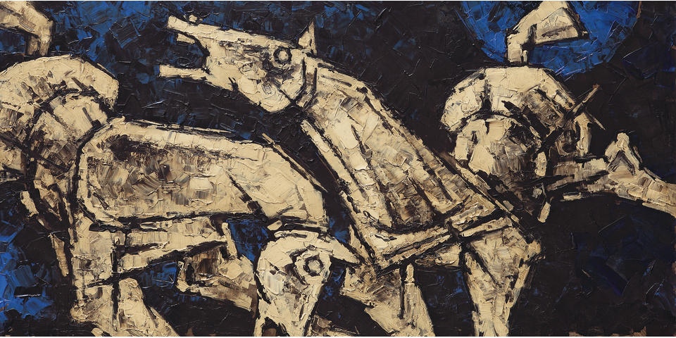 Maqbol Fida Husain (India, 1915-2011) Untitled (Horses),
