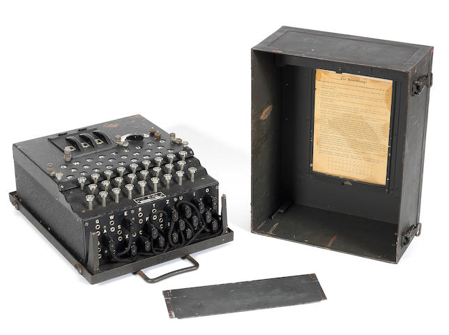 A rare Enigma three rotor enciphering machine, German, circa 1941,