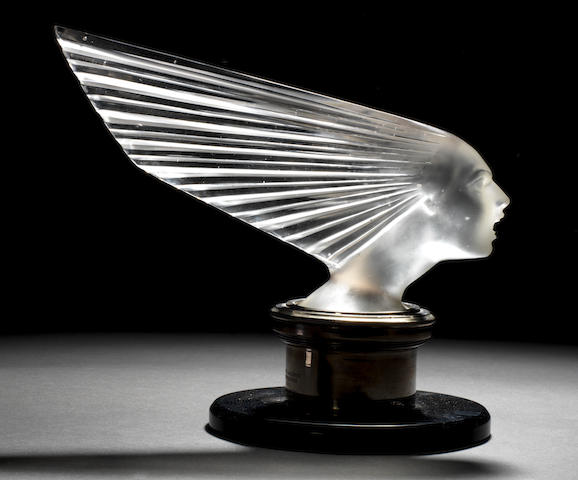 A fine and rare 'Victoire' glass mascot by René Lalique, French, introduced 18th April 1928,