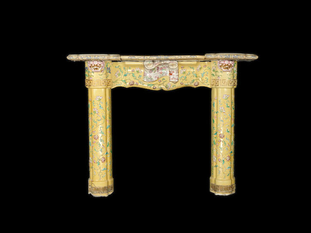 A rare Masons iron yellow ground patent ironstone chimneypiece in the Chinoiserie taste circa 1820-30