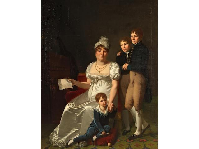 Jacques Antoine Vallin (Paris 1760-1831) Portrait of Madame B., née Étiennette Delagrange, with her children