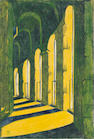 Ursula Fookes (British, 1906-1991) Viaduct Linocut printed in yellow, green and dark blue, circa 1930, on oriental laid tissue, signed in pencil, with margins, 232 x 160mm (9 1/8 x 6 1/4in) (B)
