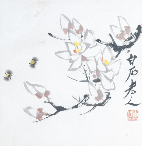 Loquats and Bees In the manner of Qi Baishi
