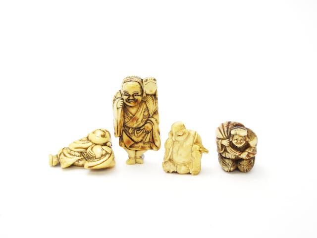 A bone netsuke of Gama Sennin and three others 19th century