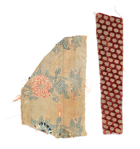 A fine Safavid woven metal thread and silk Fragment Persia, late 16th/17th Century(2)