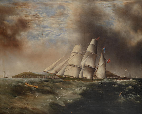English School, 19th Century Barque heading out off the Skerries, Swansea in choppy seas