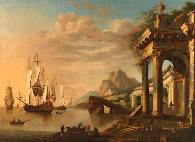 English School, 18th Century Two architectural capricci of Mediterranean ports  (2)