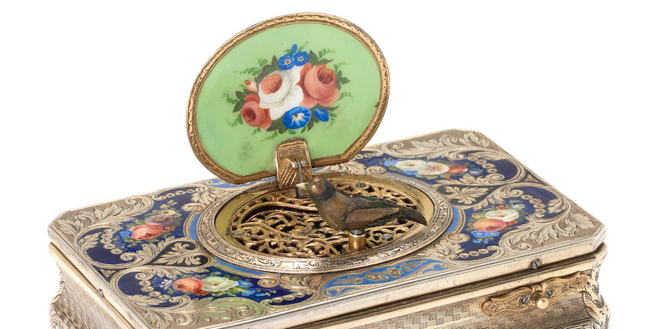 A Charles Bruguier sarcophagus-form silver and enamel singing bird box, Swiss, circa 1825,