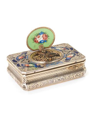 A Charles Bruguier sarcophagus-form silver and enamel singing bird box, Swiss, circa 1825,
