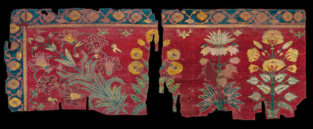 A fine woven Mughal Carpet Fragment India, circa 1650
