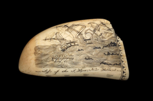 A 19th century decorated Whale's tooth, attributed to Edward Burdett 5ins.(12.5cm)long.