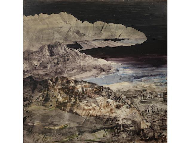 Sidney Nolan (Australian, 1917-1992) Landscape 122.3 x 122 cm. (48 1/8 x 48 in.)